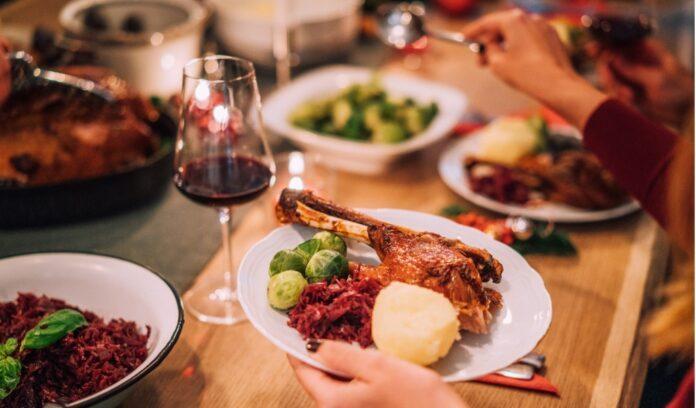 piatto anatra vino rosso buffet