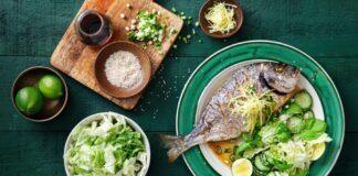 pesce grigliato riso verdure salsa soia