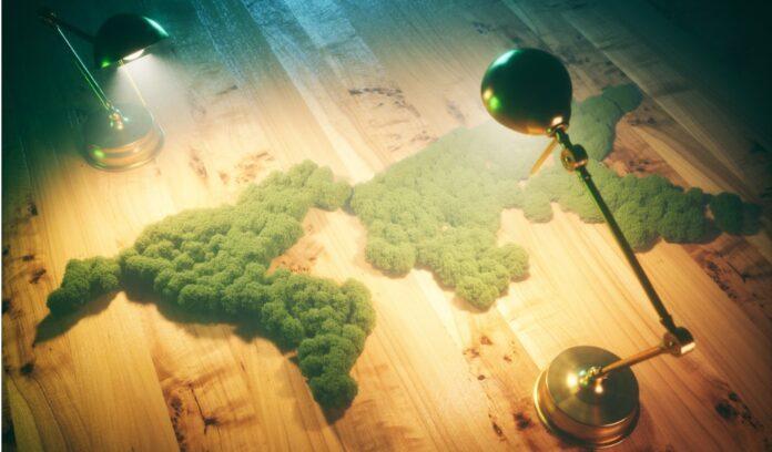 pianeta verde alberi lampade